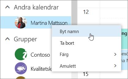 En skärmbild av snabbmenyn Andra kalendrar.
