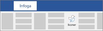 Alternativ för att infoga ikoner i menyfliksområdet