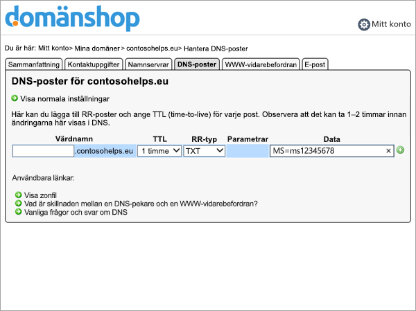 TXT-post i Domainnameshop