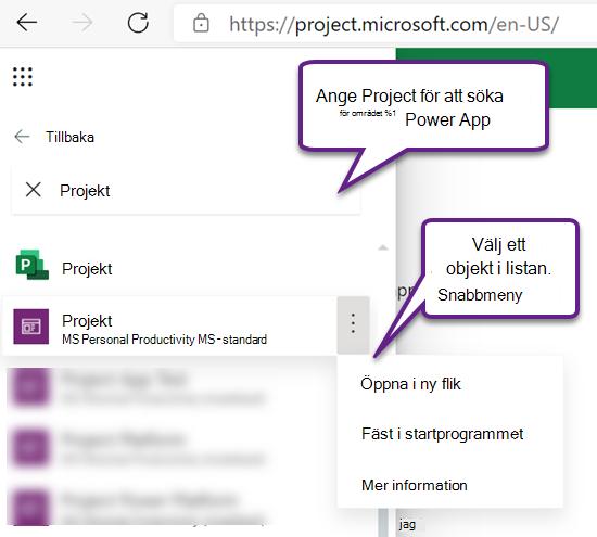 Project Power App i sökresultat i App startprogrammet