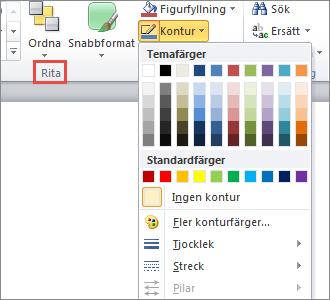 Meny för figurkonturer på textrutor i PowerPoint 2010