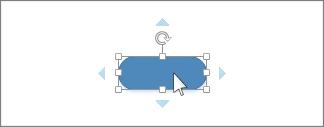 Markör är placerad över en form, blå pilar visas