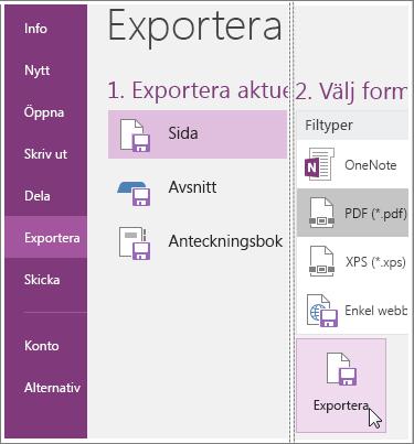 Skärmbild som visar hur du exporterar en sida med anteckningar i OneNote 2016.
