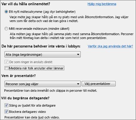 Skärmdump av mötesalternativ med valda alternativ för ett stort antal mötesdeltagare