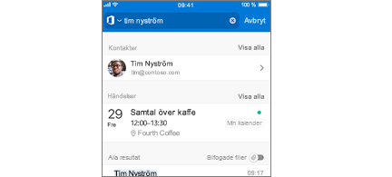 Outlook Mobile-kalender med möten i Sök Resultat