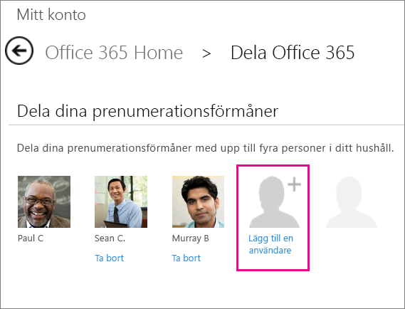 "Screen shot of the Share Office 365 page with the ""Add user"" option selected."