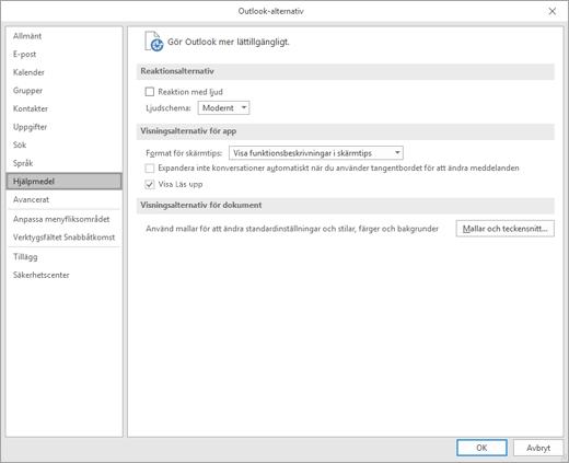 Hjälpmedel i Outlook-inställningar.