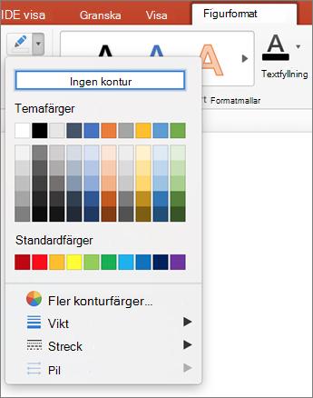 Klicka på ikonen kontur
