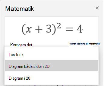 Diagram alternativ i fönstret matematik