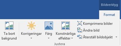 Knappen Ta bort bakgrund finns på fliken bild verktyg format i menyfliksområdet i Office 2016.
