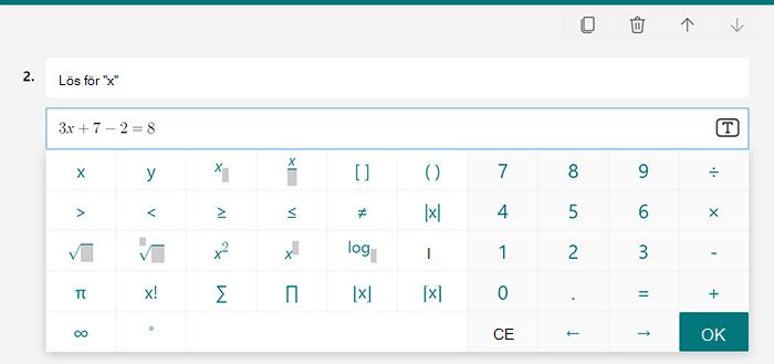 Alternativ för matematiska ekvationer för ett test i Microsoft Forms