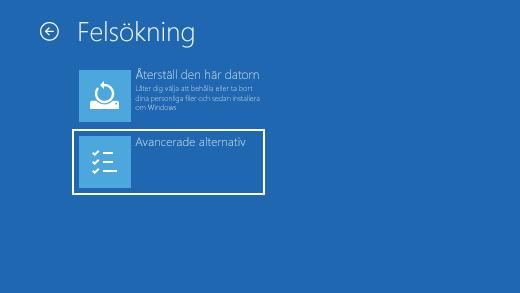Felsökningsskärm i Windows Återställningsmiljö.