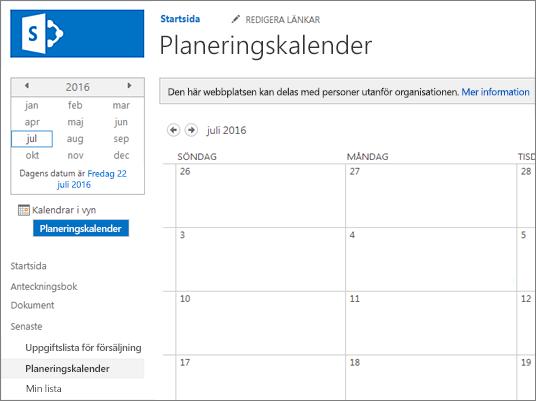 Exempel på en kalenderlistapp.