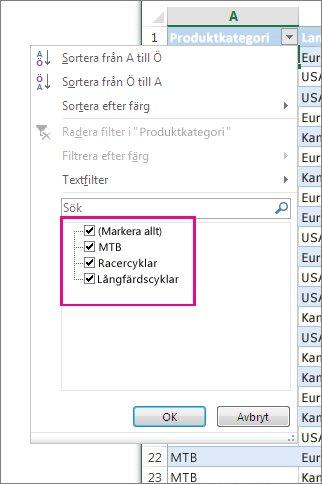 Filtrera genom att markera objekt i en lista