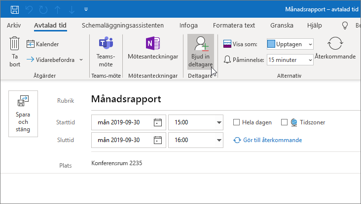 Schemalägga en avtalad tid i Outlook