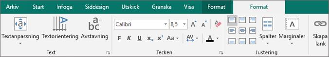 Klicka på Anpassa Text