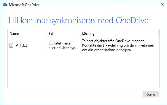 OneDrive-filen kunde inte synkroniseras