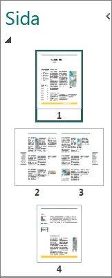 Sida med navigeringsfönster som visar både uppslag på en och två sidor.
