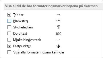 Visa eller dölj alltid formateringssymboler