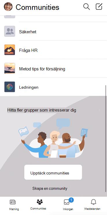 Skärm bild som visar hur Yammer-communities identifieras i mobilappen