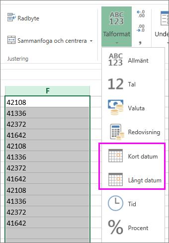 kolumn med datum i textformat