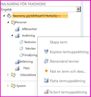 Du kan välja ett gruppnamn i verktyget för termlagring som gör det möjligt att lägga till termer i en termuppsättning