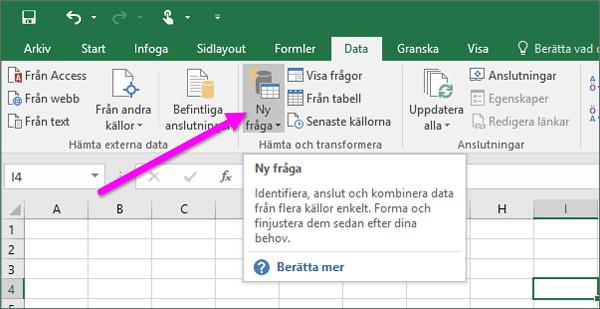Ny fråga i Excel 2016