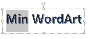 WordArt med delar av texten markerad
