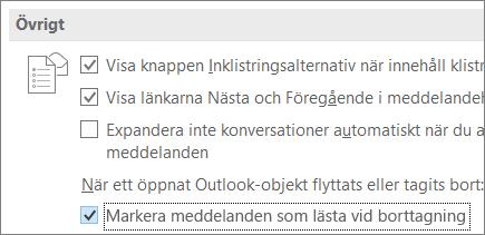 Kryssrutan Markera meddelanden som lästa vid borttagning i Outlook-alternativ
