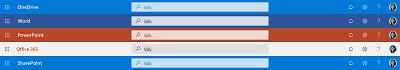 Skärmbild av sökrutan högst upp i flera appar