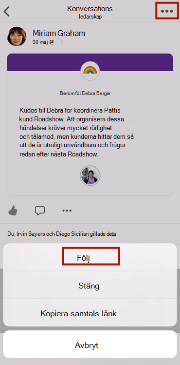 Skärm bild som visar efter en konversation i ny Yammer i mobilappen