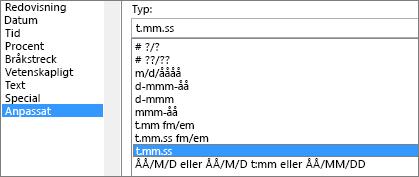 Dialogrutan Formatera celler, kommandot Anpassa, typen hh:mm