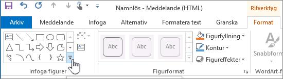 Knapp för att infoga figurer i Outlook