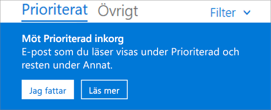 En bild av hur den prioriterade inkorgen ser ut när en användare först öppnar Outlook på webben.