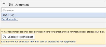 Dialogrutan Spara som PDF med gul meddelanderuta för att kontrollera tillgängligheten för PDF-filen innan du sparar den