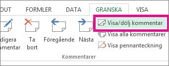 Klicka på Visa/dölj kommentar på fliken Granska