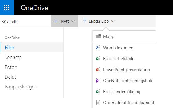 Skärmbild av hur du skapar ett dokument från OneDrive.com