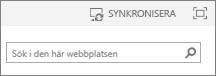 Synkroniseringslänk högst upp på sidan i SP2013