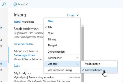 Skärmbild av Inkorgen, med Filter > Visa som > Konversationer markerat.