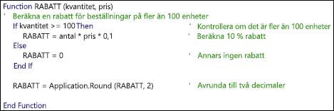 Exempel på en VBA-funktion med kommentarer