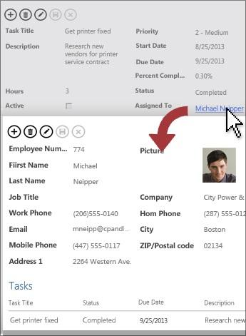 Klicka på en knapp för detaljerad information i en vy för att öppna en detaljvy.