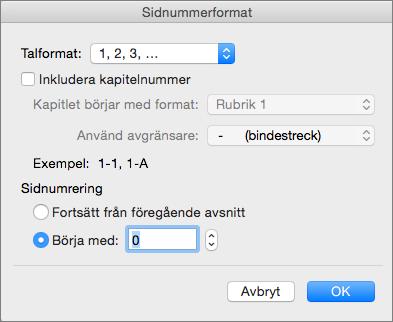 Välj numreringsformat och startnummer i Sidnummerformat.
