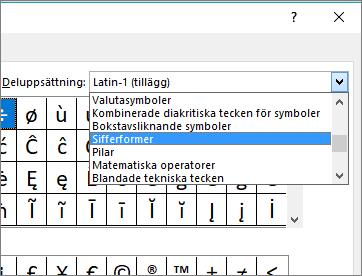 Välj Sifferformer i dialogrutan Delmängd för att visa bråktal och andra matematiska symboler