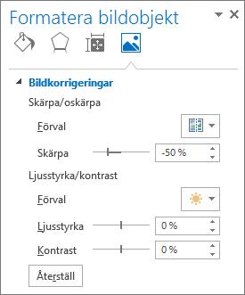 Alternativ för bildkorrigeringar i åtgärdsfönstret Formatera bild