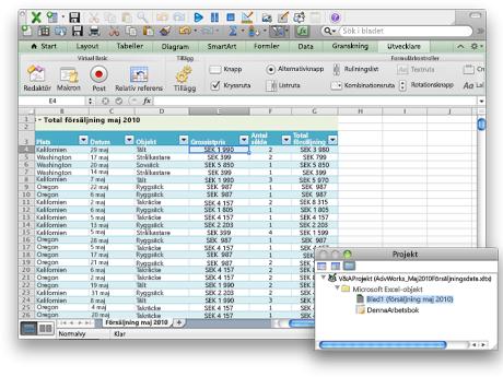 Kalkylblad med fliken Utvecklare och Project-fönstret
