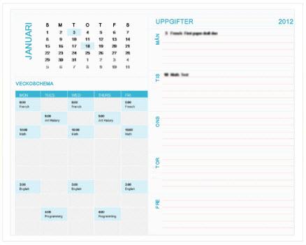 Studentplaneringskalendermall per vecka (Excel)