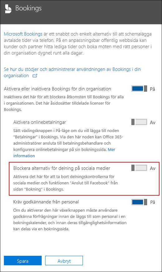 Skärmdump: Blockera sociala delningsalternativ i bokningar