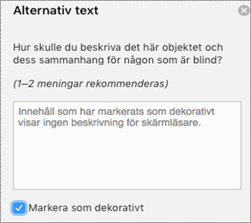 Kryssrutan Markera som dekorativt markerad i fönstret Alternativtext i Word för Mac.