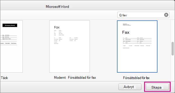 """Skapa ett faxförsättsblad genom att söker efter """"fax"""", välja en mall och klicka på Skapa."""