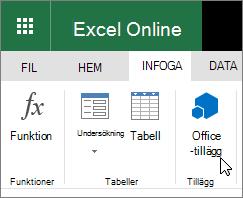 """Skärmbild av en närbild av gruppen tillägg på fliken Infoga i menyfliksområdet med markör som pekar på """"Office-tillägg""""."""